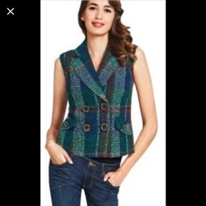 NWT Cabi vest double breasted tweed plaid small